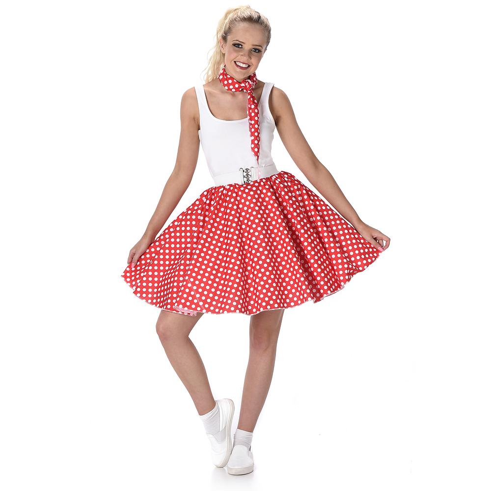 karnevals kostüm petticoat 50er jahre rockabilly rotweiß