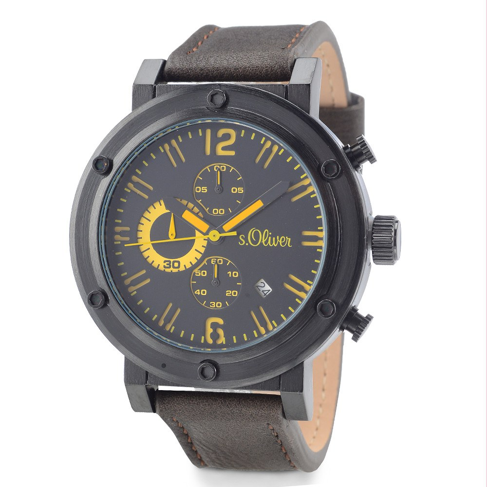 newest collection f155e 511c8 S. Oliver Herrenuhr Quarz mit Lederarmband