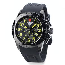 Swiss Alpine Military Herrenuhr Sport Chronograph mit Silikonarmband Schwarz