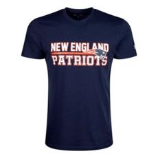 New Era New England Patriots T-Shirt Stacked Wordmark blau