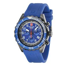 Swiss Alpine Military Herrenuhr Chronograph mit Sport-Armband Blau