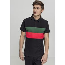 URBAN CLASSICS Poloshirt Color Block Panel schwarz/grün/rot