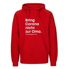 """Initiative gegen Corona"" Hoodie ""Bring Corona nicht zur Oma."" rot"