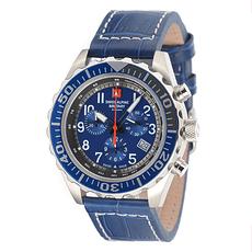 Swiss Alpine Military Herrenuhr Chronograph mit Leder-Armband Blau