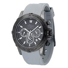S. Oliver Herrenuhr Multianzeige sportliches Silikon Armband Schwarz/Grau