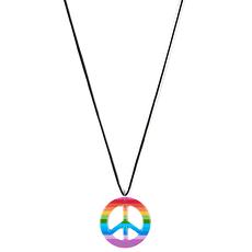 Karnevals- Halskette Peace Hippie bunt
