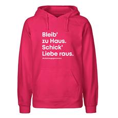 """""""Initiative gegen Corona"""" Hoodie """"Bleib' zu Haus. Schick' Liebe raus."""" pink"""