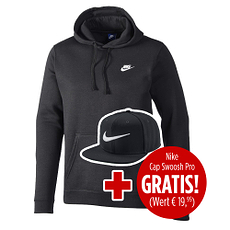 Nike Hoodie Sportswear Swoosh inkl. Cap gratis Schwarz