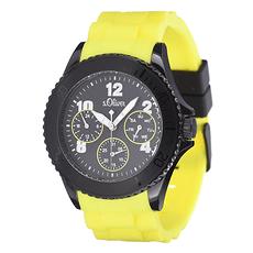 S. Oliver Herrenuhr Multianzeige sportliches Silikon Armband Schwarz/Gelb