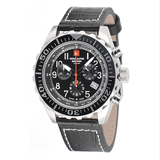 Swiss Alpine Military Herrenuhr Chronograph mit Leder-Armband Schwarz
