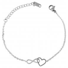 Akzent Damen Edelstahl Armband mit Herz (16-20 cm) Silber