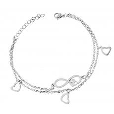 Akzent Damen Edelstahl Armband mit Herzen (17-20 cm) Silber
