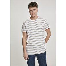 URBAN CLASSICS T-Shirt Multicolor Stripe weiß/schwarz/gelb/grau