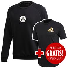 Adidas Sweatshirt TAN inkl. T-Shirt SORT ID gratis Schwarz