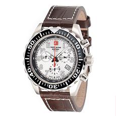Swiss Alpine Military Herrenuhr Chronograph mit Leder-Armband Weiß/Braun