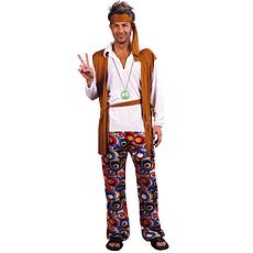 Karnevals- Kostüm Hippie 60er Jahre beige/bunt