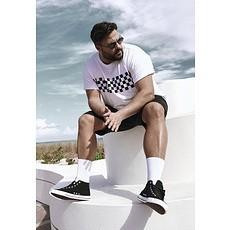 URBAN CLASSICS T-Shirt Check Panel weiß/schwarz