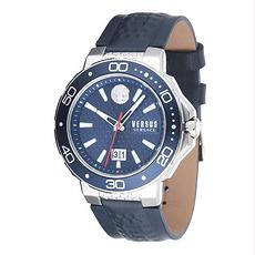 Versus by Versace Herrenuhr Quarz Kalk Bay Leder-Armband Blau