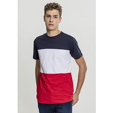 URBAN CLASSICS T-Shirt Color Block rot/navy/weiß