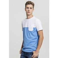 URBAN CLASSICS T-Shirt Color Block Summer Pocket blau/weiß