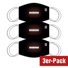 PICK SIX 3er Set Mund-Nase Maske FOOTBALL Schwarz