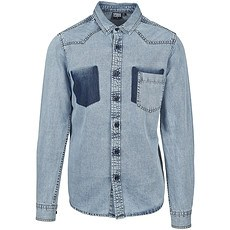 URBAN CLASSICS Hemd Denim Pocket blau