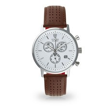 DETOMASO Herren Quarzuhr MILANO Chronograph Silber/Braun