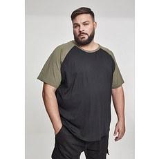 URBAN CLASSICS T-Shirt Raglan Contrast schwarz/olive