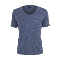 URBAN CLASSICS T-Shirt V-Neck Pocket Tee Blau/Weiß