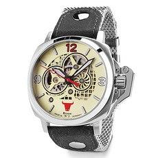 BISON Herren Automatikuhr Bison No. 3 Milanese Armband Grau/Silber