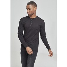 URBAN CLASSICS Sweatshirt Basic Henley L/S Schwarz