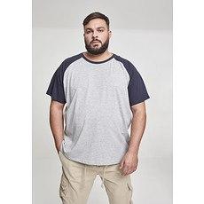 URBAN CLASSICS T-Shirt Raglan Contrast grau/navy