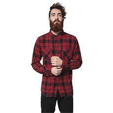 URBAN CLASSICS Hemd Checked Flanell 2 Rot/Schwarz