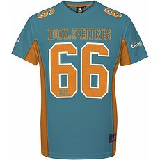 Majestic Athletic Miami Dolphins T-Shirt Moro Poly Mesh blau