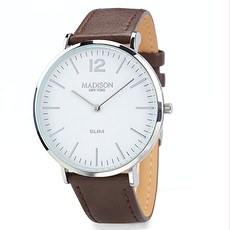 MADISON NEW YORK Herrenuhr Slim Silber/Braun