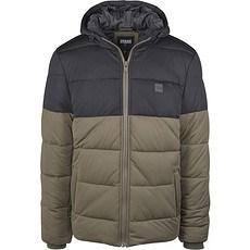 URBAN CLASSICS Winterjacke 2-Tone Hooded Puffer oliv/schwarz