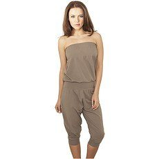 URBAN CLASSICS Jumpsuit Shoulderfree Capri Damen Stone