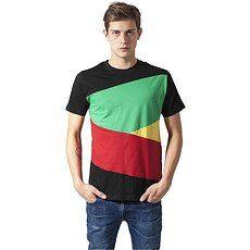 URBAN CLASSICS T-Shirt ZIG ZAG Schwarz/Rasta