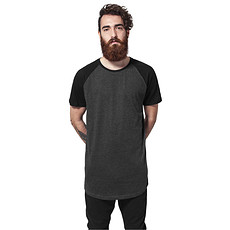 URBAN CLASSICS T-Shirt Shaped Raglan Long Dunkelgrau/Schwarz