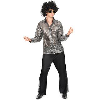 Karnevals- Kostüm Disco 70er Jahre silber/schwarz