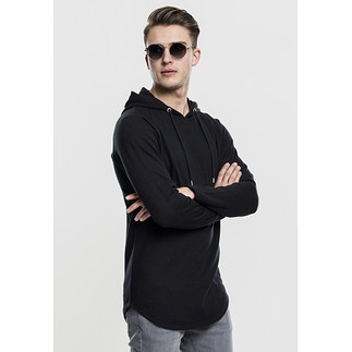 URBAN CLASSICS Hoodie Long Shaped Terry schwarz
