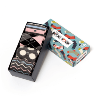 The Socks House Damensocken 4er Pack Geschenkbox Classic grau/schwarz