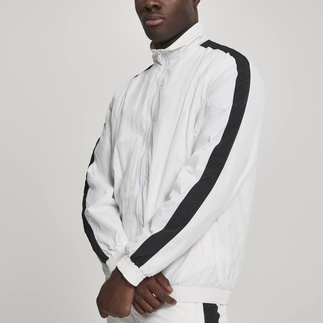 URBAN CLASSICS Trackjacke Striped Sleve Crinkle weiß/schwarz