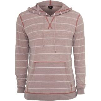 URBAN CLASSICS Hoodie Striped Burnout Ruby/Weiß