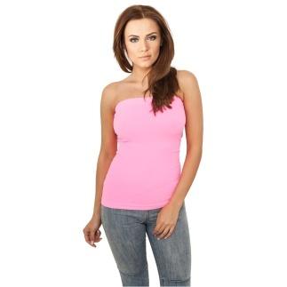 URBAN CLASSICS Top Neon Strapless Damen Pink