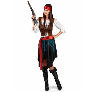 Karnevals- Kostüm Verruchte Piratin Damen bunt