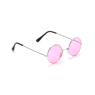 Karnevals- Brille Hippie 70er Jahre rosa