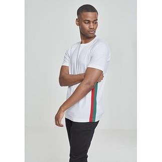 URBAN CLASSICS T-Shirt Ragland Side Stripe weiß/rot/grün