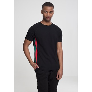 URBAN CLASSICS T-Shirt Ragland Side Stripe schwarz/rot/grün