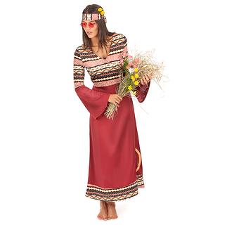 Karnevals- Kostüm Hippiekleid 60er Retro Damen bordeaux